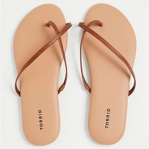 Torrid COGNAC FAUX LEATHER CRISSCROSS FLIP FLOP